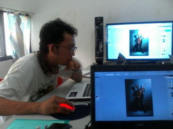 Materi dasar Retouching & Digital Imaging. menyatukan objek foto dengan background